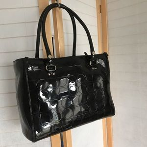 Kate Spade tote in black patent with embossed logo